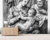 The Holy Family, engraved by Marcantonio Raimondi, c.1515 (engraving) mural wallpaper living room preview