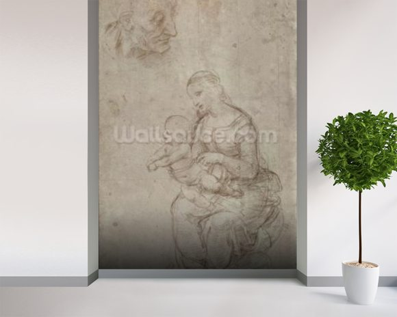 Madonna and child and head of an old man (metal point on prepared pale pink paper) wallpaper mural room setting