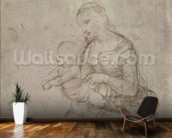 Madonna and child and head of an old man (metal point on prepared pale pink paper) wallpaper mural kitchen preview