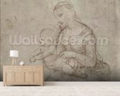 Madonna and child and head of an old man (metal point on prepared pale pink paper) wallpaper mural living room preview