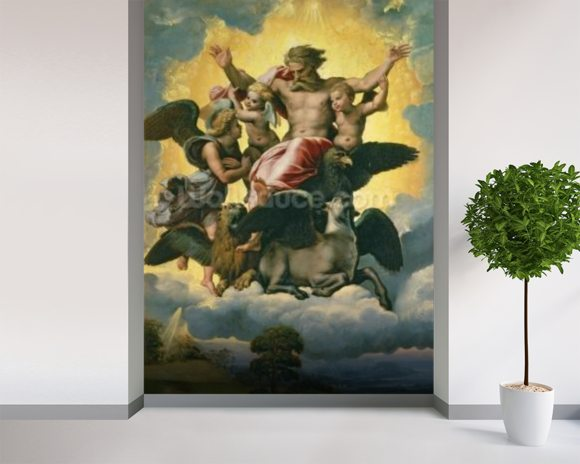 Vision of Ezekiel, c.1518 (oil on panel) mural wallpaper room setting