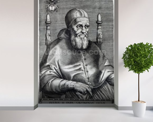 Pope Julius II (engraving) wallpaper mural room setting