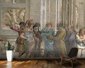 School of Athens, from the Stanza della Segnatura, 1510-11 (fresco) (detail of 472) mural wallpaper kitchen preview