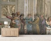 School of Athens, from the Stanza della Segnatura, 1510-11 (fresco) (detail of 472) mural wallpaper living room preview