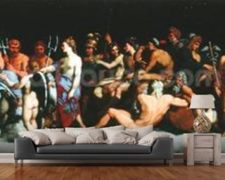 The Assembly of the Gods, after the frescoes in the Loggia of the Farnesina in Rome (oil on canvas) wallpaper mural