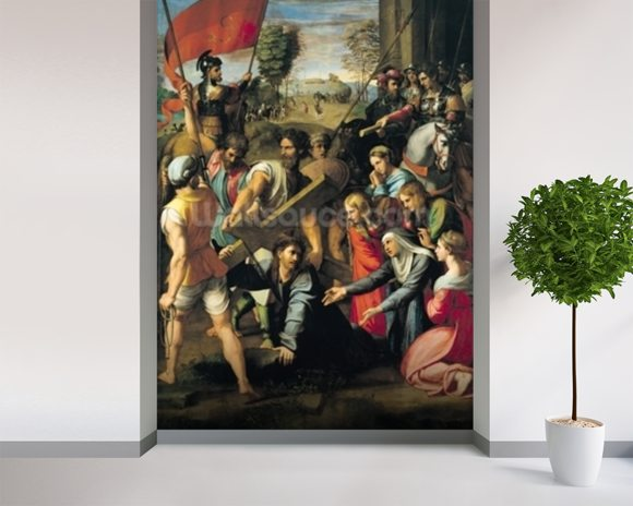 The Fall on the Road to Calvary, 1517 (oil on canvas) mural wallpaper room setting