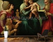 The Madonna of the Fish (The Madonna with the Archangel Gabriel and St. Jerome) c.1513 (oil on canvas) wall mural kitchen preview