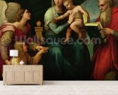 The Madonna of the Fish (The Madonna with the Archangel Gabriel and St. Jerome) c.1513 (oil on canvas) wall mural living room preview