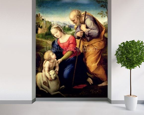 The Holy Family with a Lamb, 1507 (oil on panel) wallpaper mural room setting