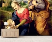 The Holy Family with a Lamb, 1507 (oil on panel) wallpaper mural living room preview