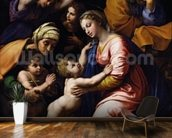 Holy Family (known as the Grande Famille of Francois I), 1518 (oil on canvas) wall mural kitchen preview