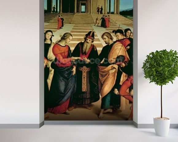 The Marriage of the Virgin, 1504 (oil on panel) wallpaper mural room setting