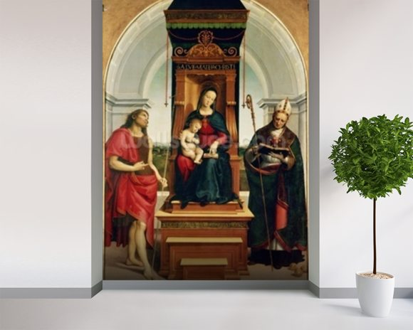 The Madonna and Child with St. John the Baptist and St. Nicholas of Bari, 1505 (oil on panel) wallpaper mural room setting
