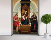 The Madonna and Child with St. John the Baptist and St. Nicholas of Bari, 1505 (oil on panel) wallpaper mural in-room view