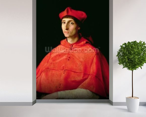 Portrait of a Cardinal (oil on panel) mural wallpaper room setting