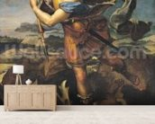 St. Michael Overwhelming the Demon, 1518 (oil on canvas) wall mural living room preview