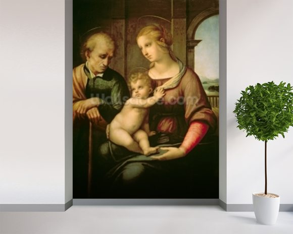 The Holy Family, 1506 (oil on canvas) wall mural room setting
