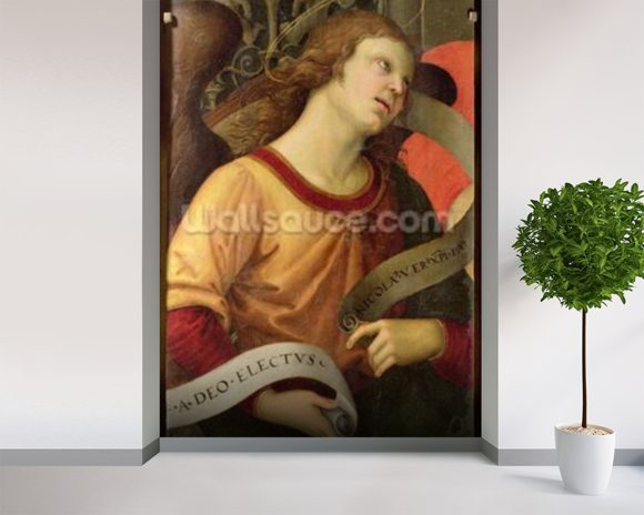 Angel, from the polyptych of St. Nicolas of Tolentino, 1501 (oil on panel) mural wallpaper room setting