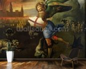St. Michael, c.1503-05 (oil on panel) (see also 15971) mural wallpaper kitchen preview
