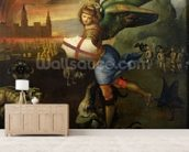 St. Michael, c.1503-05 (oil on panel) (see also 15971) mural wallpaper living room preview