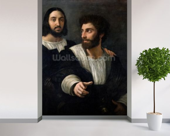 Self Portrait with a Friend (oil on canvas) mural wallpaper room setting