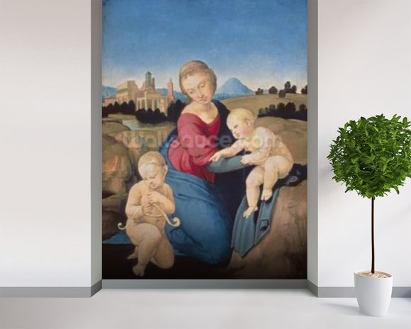 The Esterhazy Madonna, c.1507-08 (tempera & oil on poplar panel) mural wallpaper room setting