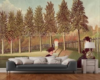 The Artist Painting his Wife, 1900-05 (oil on canvas) wallpaper mural