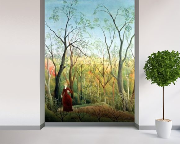The Walk in the Forest, 1886-90 (oil on canvas) wall mural room setting