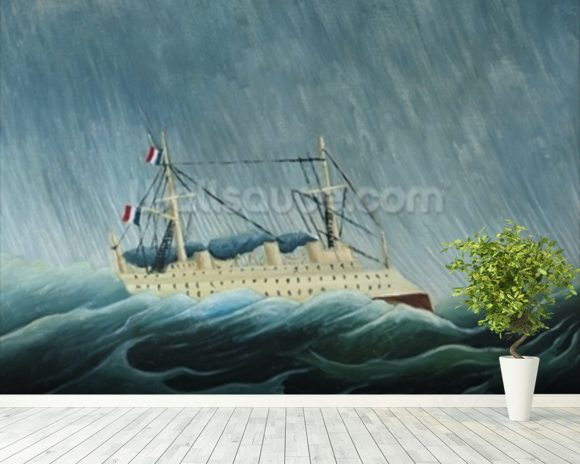 The storm-tossed vessel, c.1899 (oil on canvas) wall mural room setting