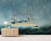 The storm-tossed vessel, c.1899 (oil on canvas) wall mural living room preview