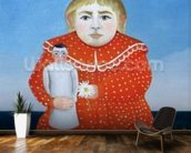 The girl with a doll, c.1892 or c.1904-05 (oil on canvas) wallpaper mural kitchen preview
