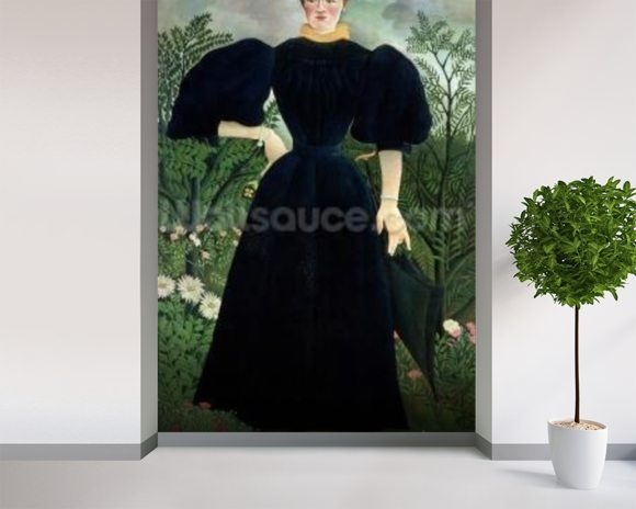 Portrait of a Woman, c.1895-97 (oil on canvas) mural wallpaper room setting