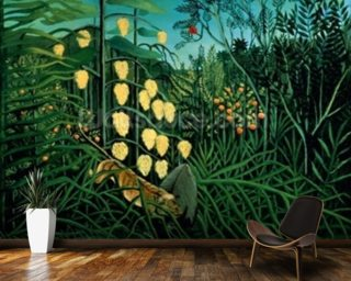 Tropical Forest Battling Tiger Buffalo Mural Wallpaper Wall Murals Wallpaper