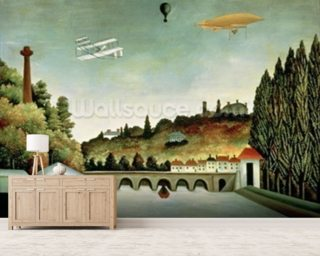 View of the Bridge at Sevres and the Hills at Clamart, St. Cloud and Bellevue, 1908 (oil on canvas) mural wallpaper