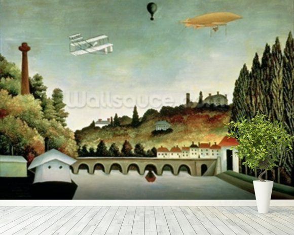 View of the Bridge at Sevres and the Hills at Clamart, St. Cloud and Bellevue, 1908 (oil on canvas) mural wallpaper room setting