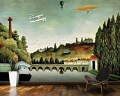 View of the Bridge at Sevres and the Hills at Clamart, St. Cloud and Bellevue, 1908 (oil on canvas) mural wallpaper kitchen preview