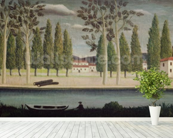 By the River, c.1890 (oil on canvas) wall mural room setting