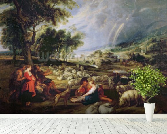 Landscape with a Rainbow (oil on canvas) wallpaper mural room setting