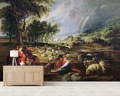 Landscape with a Rainbow (oil on canvas) wallpaper mural living room preview