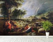 Landscape with a Rainbow (oil on canvas) wallpaper mural in-room view