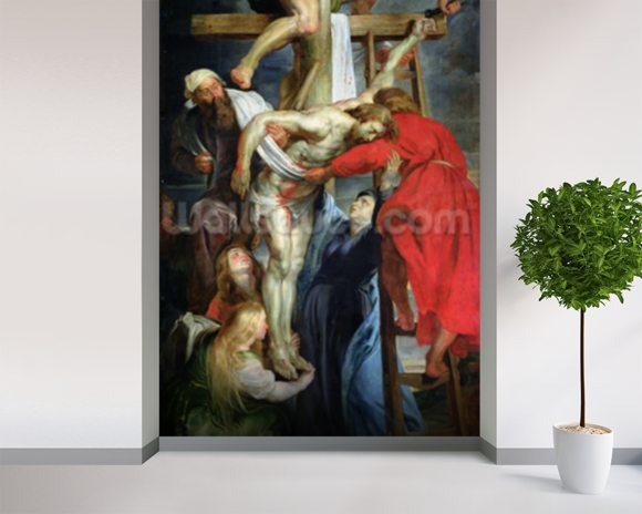 The Descent from the Cross, c.1614-15 (oil on canvas) wall mural room setting