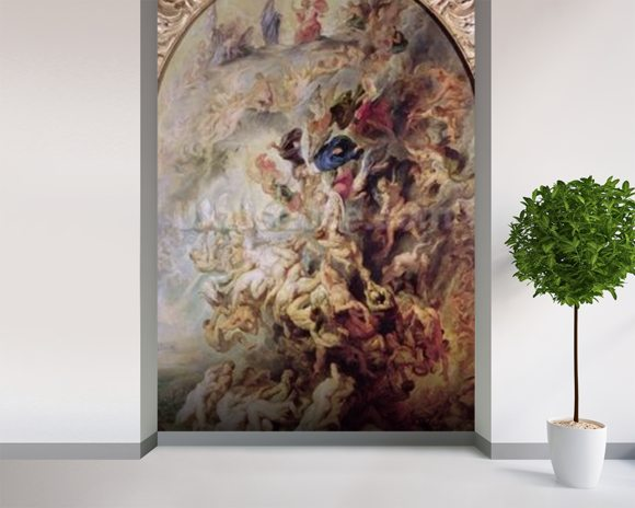 Small Last Judgement, c.1620 (oil on panel) wallpaper mural room setting
