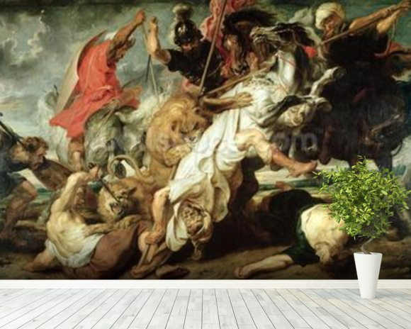 The Lion Hunt, 1621 (oil on canvas) mural wallpaper room setting