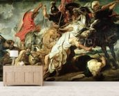 The Lion Hunt, 1621 (oil on canvas) mural wallpaper living room preview
