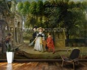 Rubens and Helene Fourment (1614-73) in the Garden (oil on panel) mural wallpaper kitchen preview