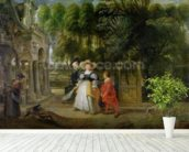 Rubens and Helene Fourment (1614-73) in the Garden (oil on panel) mural wallpaper in-room view