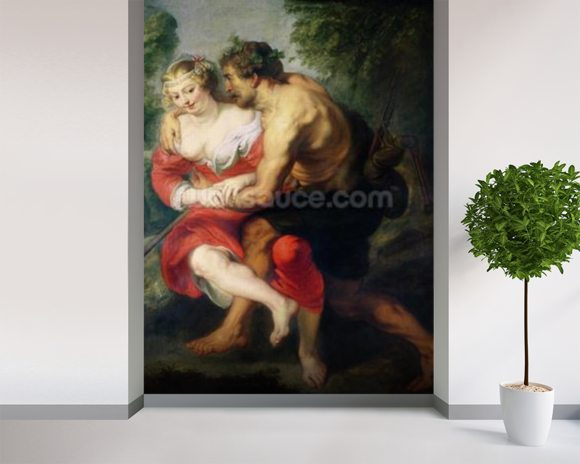 Scene of Love or, The Gallant Conversation (oil on canvas) wallpaper mural room setting