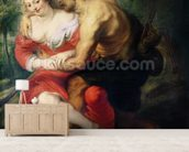 Scene of Love or, The Gallant Conversation (oil on canvas) wallpaper mural living room preview