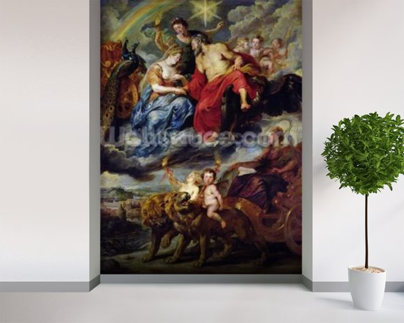 The Medici Cycle: Meeting of Henri IV (1553-1610) and Marie de Medici (1573-1642) at Lyon on 9th September 1600, 1621-25 (oil on canvas) wallpaper mural room setting