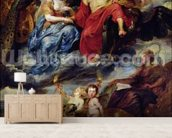 The Medici Cycle: Meeting of Henri IV (1553-1610) and Marie de Medici (1573-1642) at Lyon on 9th September 1600, 1621-25 (oil on canvas) wallpaper mural living room preview